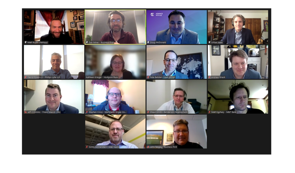 Participants in the Tech Connect virtual discussion event